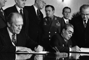 US President Gerald Ford and Soviet leader Leonid Brezhnev