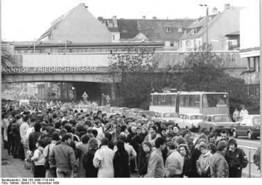 East Germans in line to travel to West Berlin at the Friedrichstrasse Border Crossing. November 10, 1989.