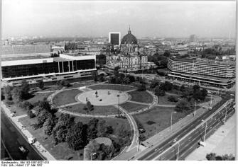 Here is the Marx-Engels Forum with the statue at the Centre. The wooded section at the top of the square is the current location